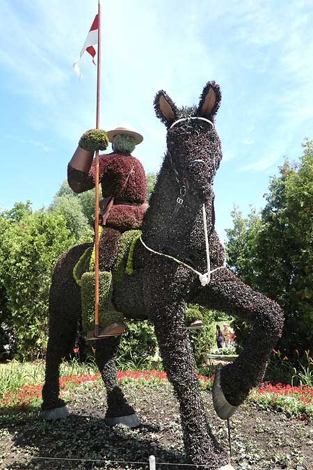 Canadian Mountie on his horse sculpture