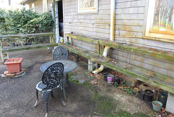 Patio area in winter looks dull, depressing and uninviting